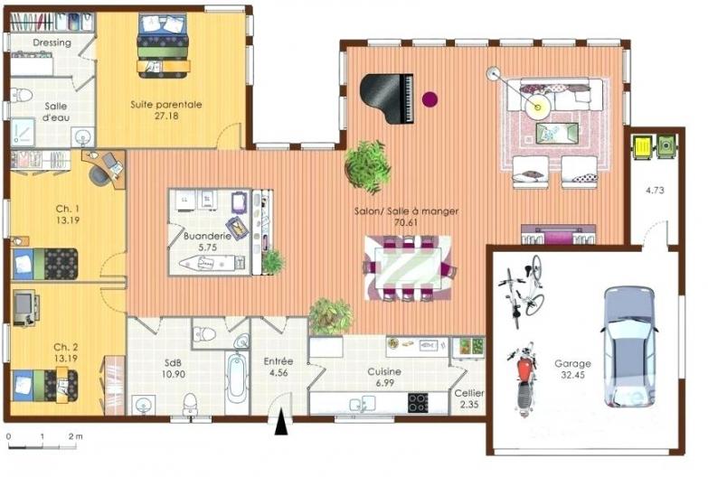 plan maison plain pied 2 chambres avec suite parentale. Black Bedroom Furniture Sets. Home Design Ideas