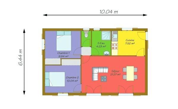 plan de maison 50m2 plain pied id es de travaux. Black Bedroom Furniture Sets. Home Design Ideas