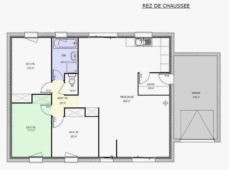 plan de maison 90m2 plain pied Plan maison de plain pied 90m2