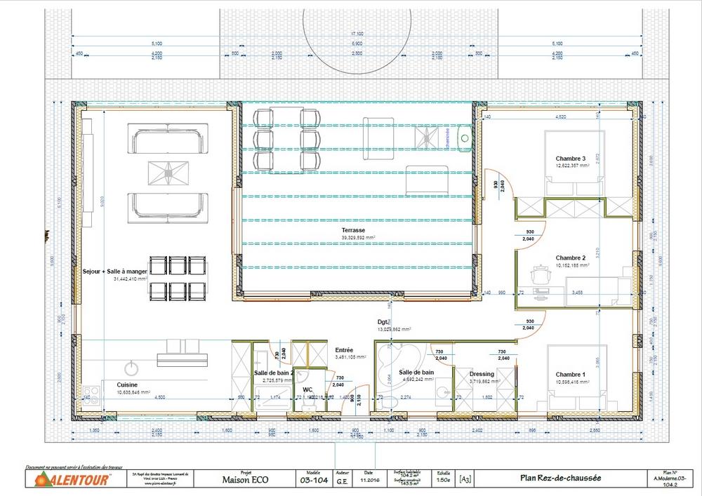 maison plain pied en u toit plat ventana blog. Black Bedroom Furniture Sets. Home Design Ideas