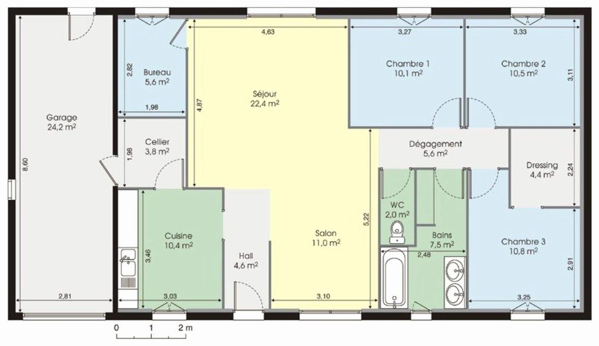 plan de maison de plain pied en l avec garage id es de. Black Bedroom Furniture Sets. Home Design Ideas