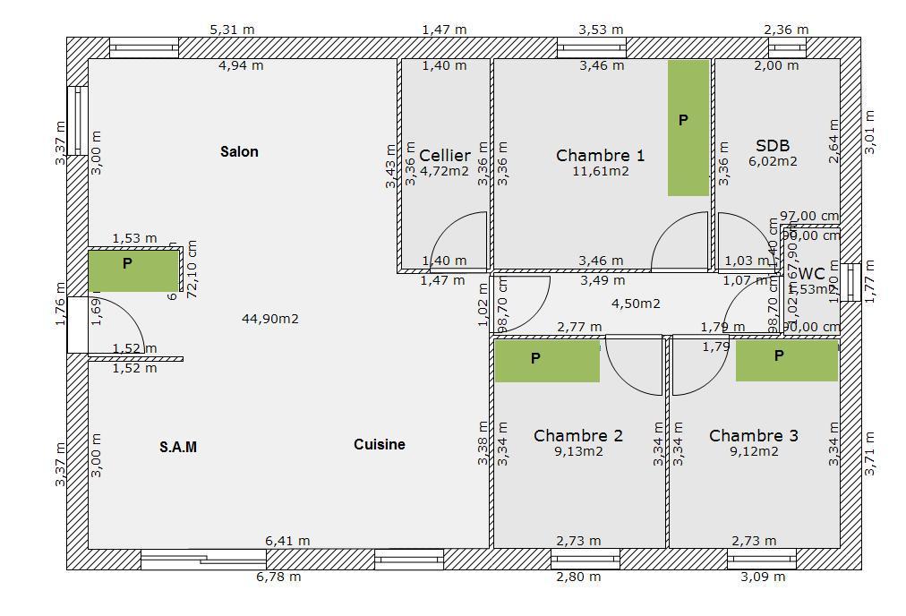 Plan de maison rectangulaire plain pied 3 chambres ventana blog - Plan de maison rectangulaire ...