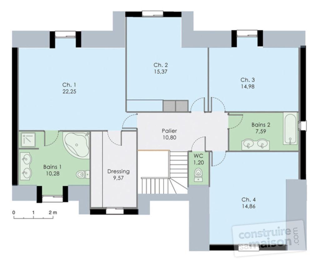Plan maison 2 chambres rdc 2 chambres etage id es de travaux - Plan maison 3 chambres etage ...