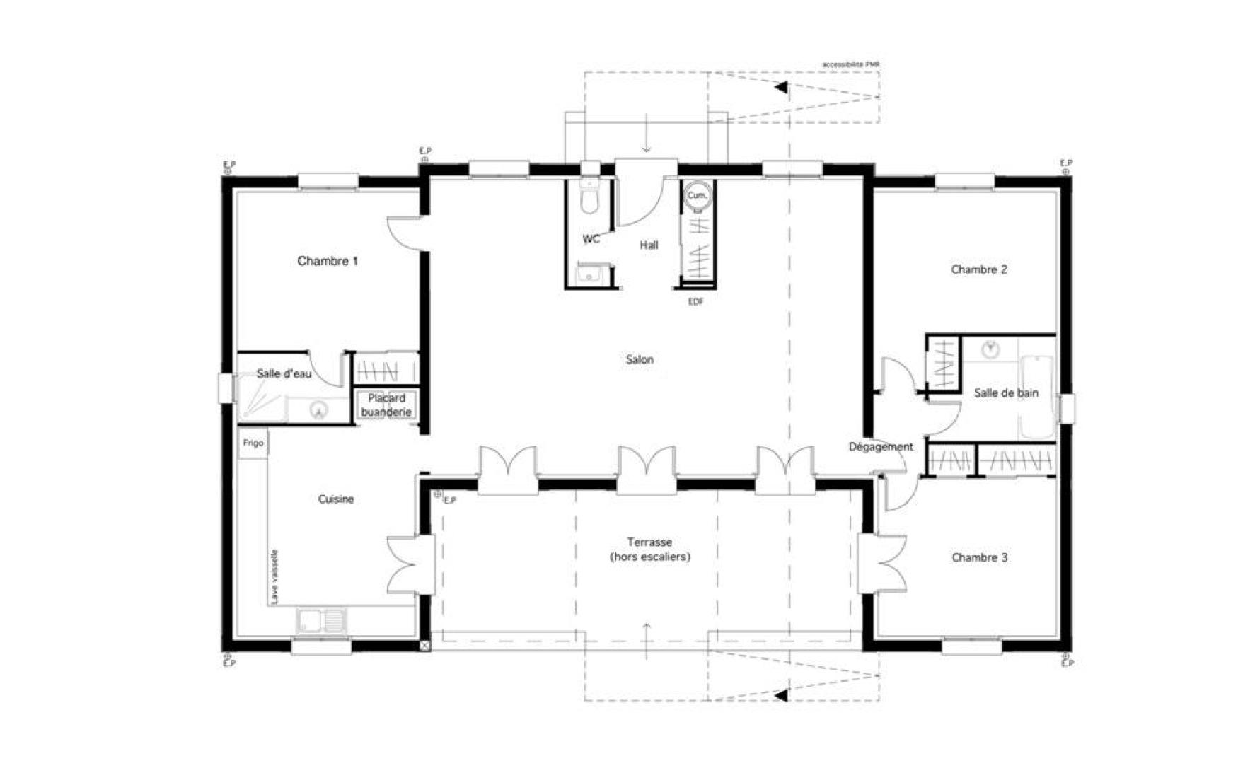 Plan de maison plain pied 3 chambres provencale - Idées de travaux