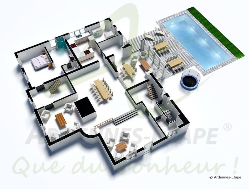 Plan de villa de luxe americaine 3d id es de travaux for Plan de maison de luxe avec piscine