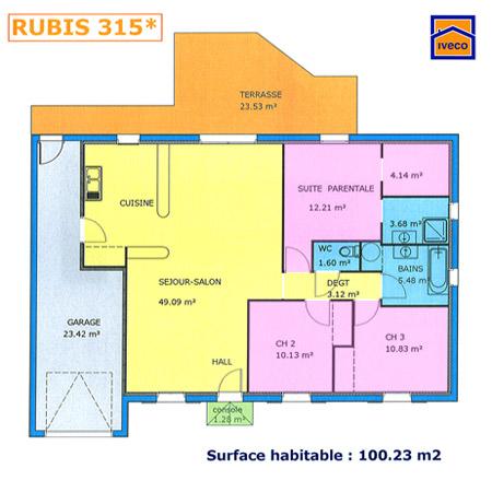 Plan maison plain pied 2 chambres et suite parentale