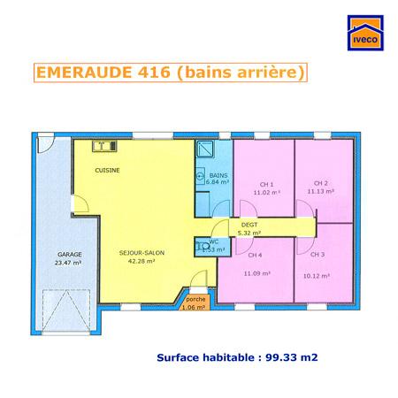 plan de maison plain pied 110m2 4 chambre id es de travaux. Black Bedroom Furniture Sets. Home Design Ideas