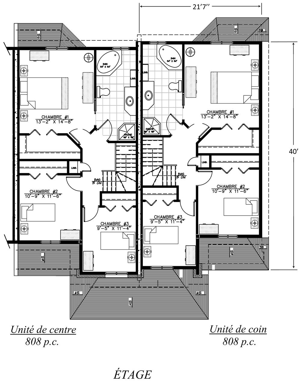 Plan maison de ville avec garage
