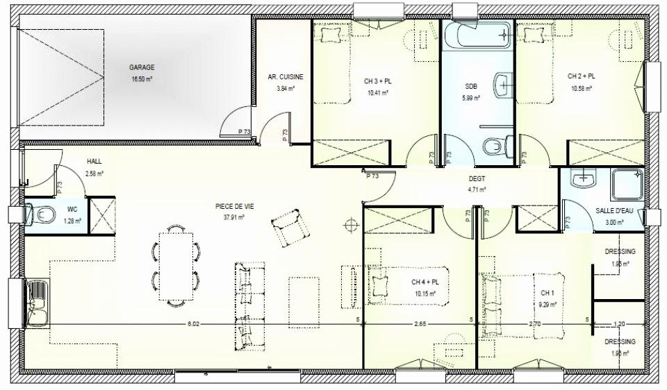 plan de maison neuve avec 4 chambres id es de travaux. Black Bedroom Furniture Sets. Home Design Ideas