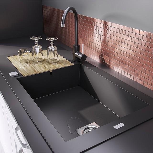 evier noir pas cher id es de travaux. Black Bedroom Furniture Sets. Home Design Ideas
